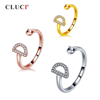 3e809e1d8a66 CLUCI 925 Sterling Silver Rose Gold Ring For Women Jewelry Silver 925 Pearl  Ring Mounting Adjustable. CLUCI rosa de plata esterlina ...