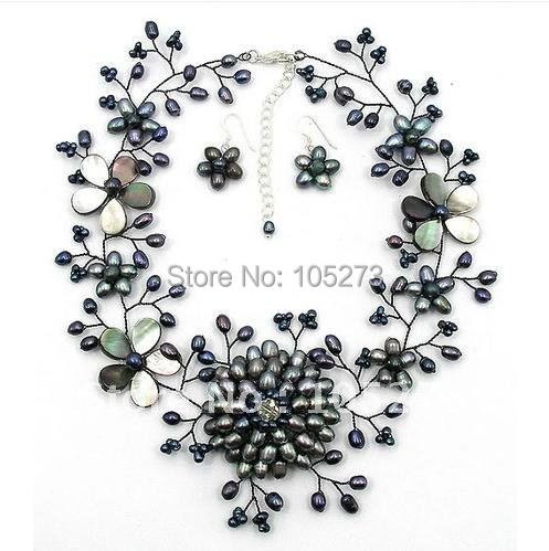 Black Freshwater Pearl Mother of Pearl Shell Wired Flower Necklace&Earrings set 16