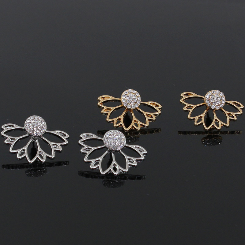Rhinestone Light Yellow Gold Color Flower Designer Stud Earrings 2019 New Brand
