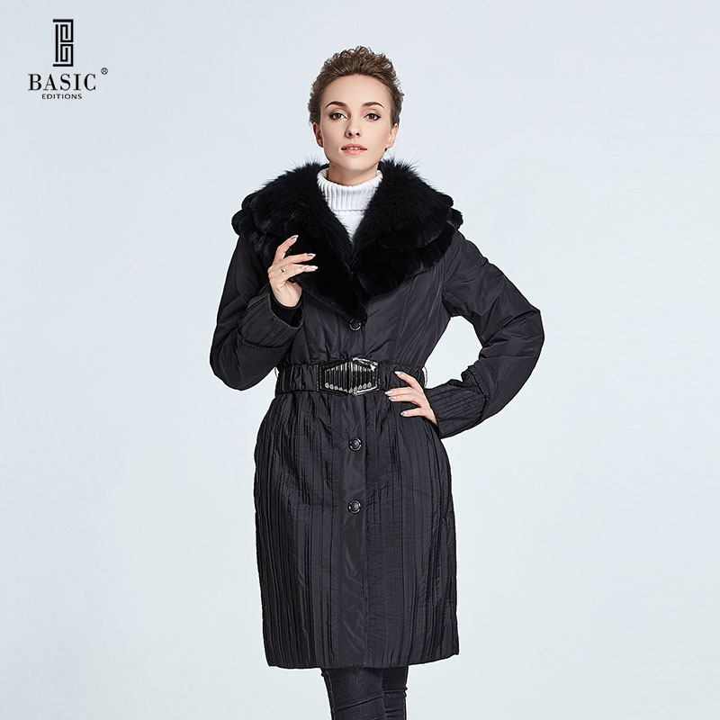 Basic Editions Women Winter Slim Fit Fox Fur Plus Rabbit Fur Collar Long Cotton Coat Parka - 9S-11037 basic editions fall winter brown metallic silk fabric cotton coat with rabbit fur collar with belt covered button 7001d11
