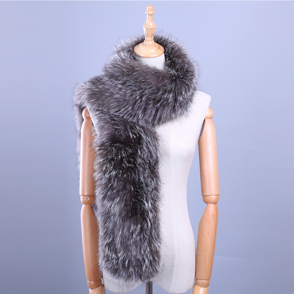 2017 Winter New Arrival Women's Men's Genuine Silver Fox Fur Hand Knitted Long Warm Fashion   Scarf     Scarves     Wraps   Mufflers