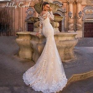 Image 3 - Ashley Carol Innamorato Sexy Lungo Del Manicotto Della Sirena Abito Da Sposa 2020 Treno Staccabile 2 In 1 Abiti Da Sposa In Pizzo Vestido De noiva
