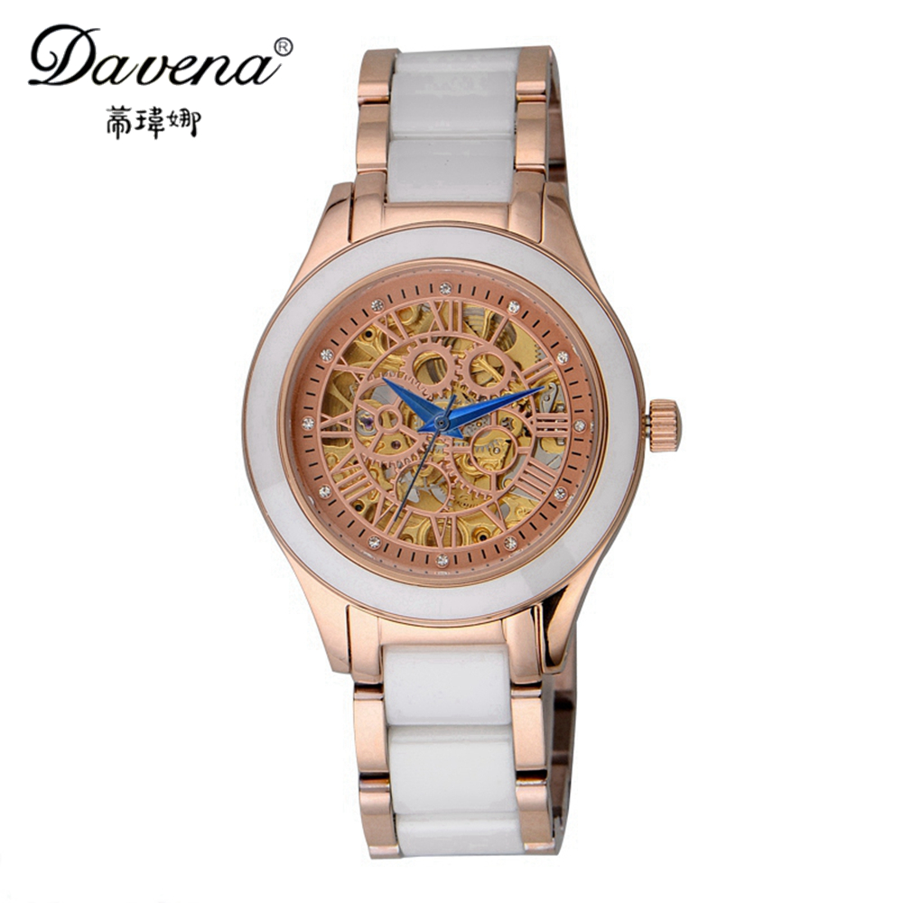 New Automatic Self-wind Hollow Out Gear Skeleton Watches Fashion Casual Ceramic Watch Women's Dress Wristwatch Best Davena 60668 automatic self wind skeleton watch hollow out dial mechanical watches man leather relogio masculino rome exquisite carved watch