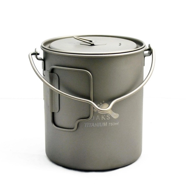 TOAKS 750ml Outdoor Hiking Camping Titanium Pot With Bail Handle Ultralight Hang Pot for Picnic Cooking