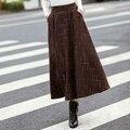 saia longa renda skirt for women autumn winter wool skirt print big swing pockets faldas largas clothing bodycon skirts S2755