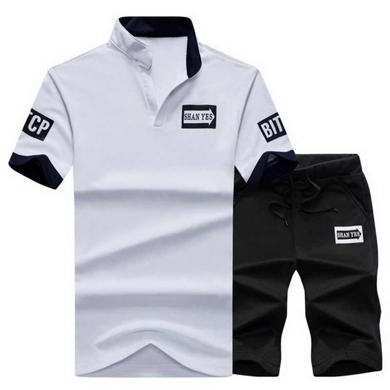 Litthing 2 個メンズスポーツウェア手紙スーツ 2019 Torridity カジュアル半袖 tシャツ + パンツスーツ男性スリムトラックスーツセット