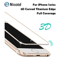 3D Curved Titanium Edge 9H 0.26m Tempered Glass Full Coverage For iPhone 6 6s Plus Protective Screen Protector Film For iPhone 7