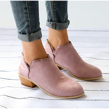 Hot Sale Woman Winter Shoes Flock Thick Heels Ankle Boots Women Female Fashion Bota Booties Botas Mujer