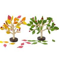 Baby Montessori Toys Children DIY Handmade Toys Wooden Leaves Exercise Balance Ability Baby Gift Artwork Blocks