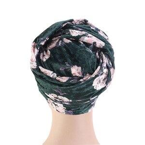 Image 5 - ผู้หญิงใหม่ดอกไม้หรูหรา Velvet Turban ไนจีเรีย turban Hijab หลอดยาวพิเศษ HEAD Wrap ผ้าพันคอมุสลิม turbante อุปกรณ์เสริมผม