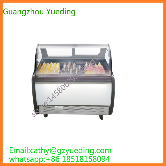 Commercial Popsicles Display Freezer Ice Lolly Showcase For Canteen Refrigeration Equipment Used Glass Door