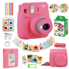 5 Colors Fujifilm Instax Mini 9 Instant Film Camera + 20 Sheets Mini 8 White Films Photos + Bag Case + Album + Filters + Frames(Hong Kong,China)