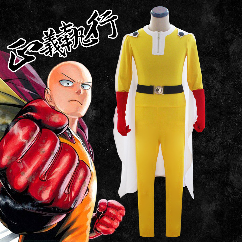 Anime ONE PUNCH MAN Saitama Uniform Outfits Cosplay Costume Superman Fighting Suit ( Jumpsuits + Cloak + Gloves + Belt )