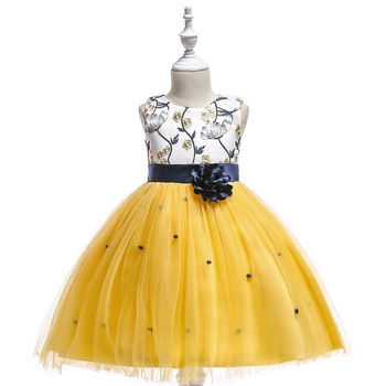 Flower Girl Dress for Weddings Satin Lace Beaded Ball Gown Girl Party Communion Dress Pageant Gown Gold Color mint green flower girl dress for weddings tulle with lace open back ball gown
