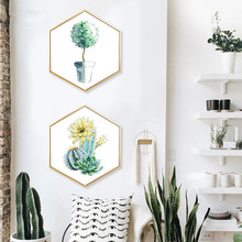 Nordic style Entrance decoration painting Hexagonal paintings Living room sofa wall Color life green plant Simple mural