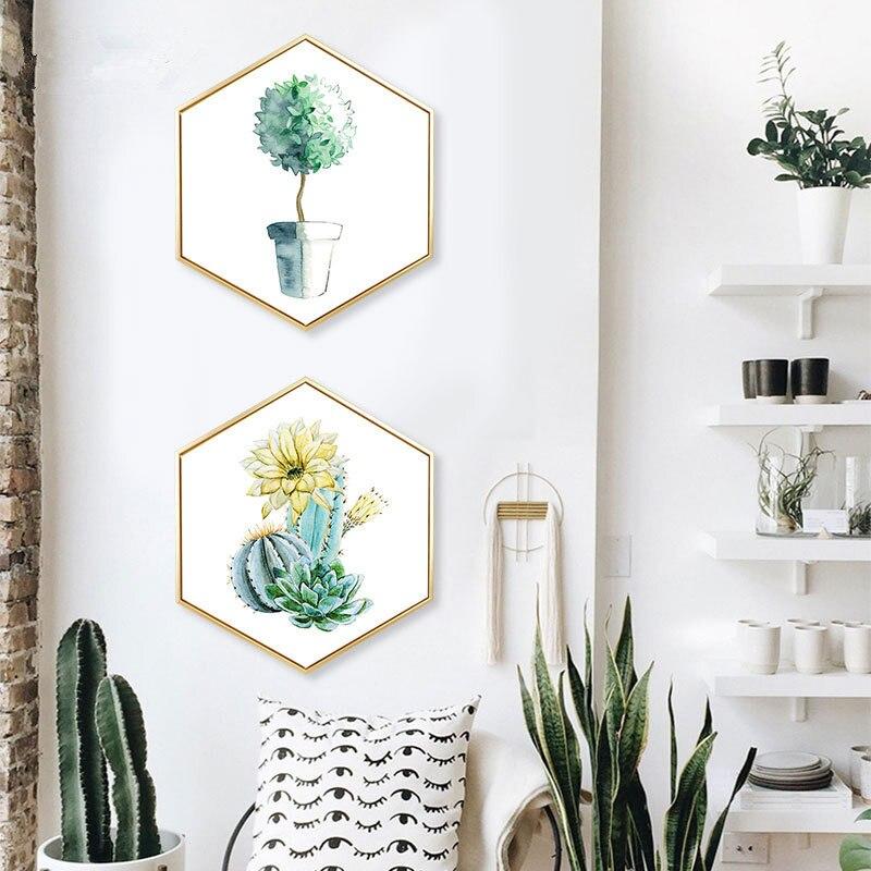 Nordischen Stil Eingang Dekoration Malerei Hexagonal Gemälde Wohnzimmer  Sofa Wandmalerei Farbe Lebens Green Anlage Einfache Wandbild