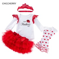 Love Mommy Happy Mothers Day Toddler Outfits Baby Girl Clothes Bodysuit Lace Tutu Skirt Headband Leg Warmers Infant Clothing