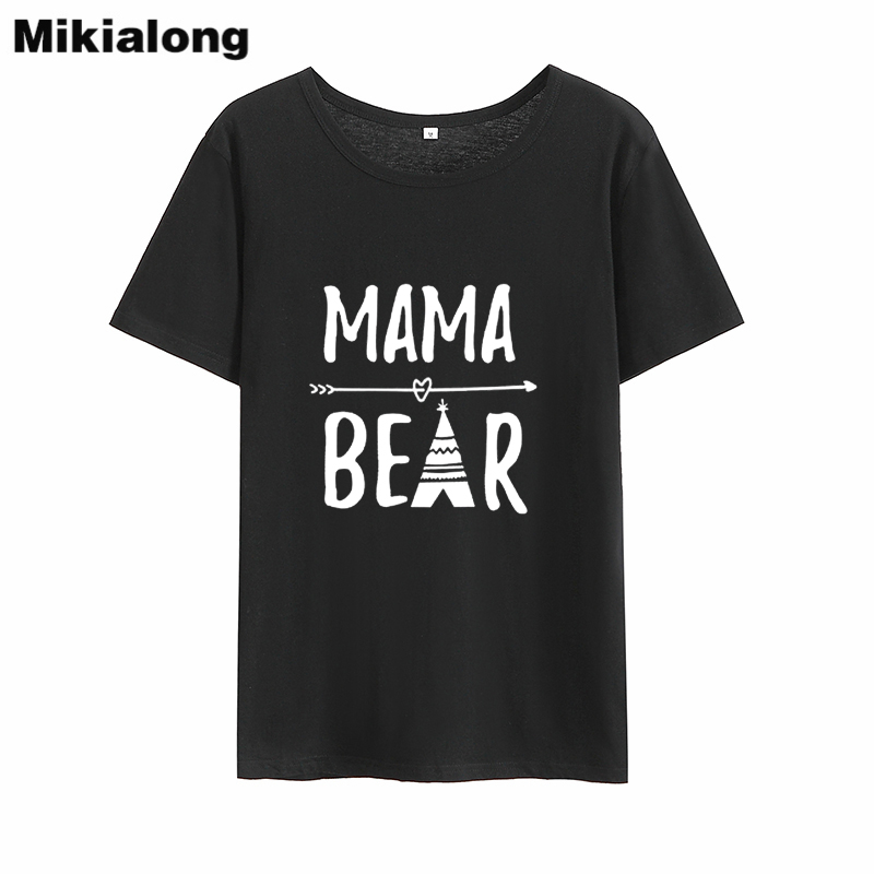 Mrs win MAMA BEAR Cute Womens T Shirt Tops Loose Ulzzang Black White Women Tshirt  Basic Casual Tee Shirt Femme Dropshipping