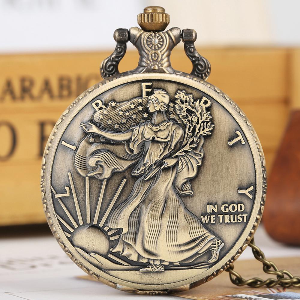 Bronze Necklace Pocket Watch For Men Arabic Numerals Large White Dial American Pattern Quartz Pendant Reloj De Bolsillo Hombre