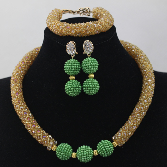 Champagne Gold Crystal Choker Necklace Set Green Beaded African Jewellery Set Birthday Gift for Women Free Shipping WD564