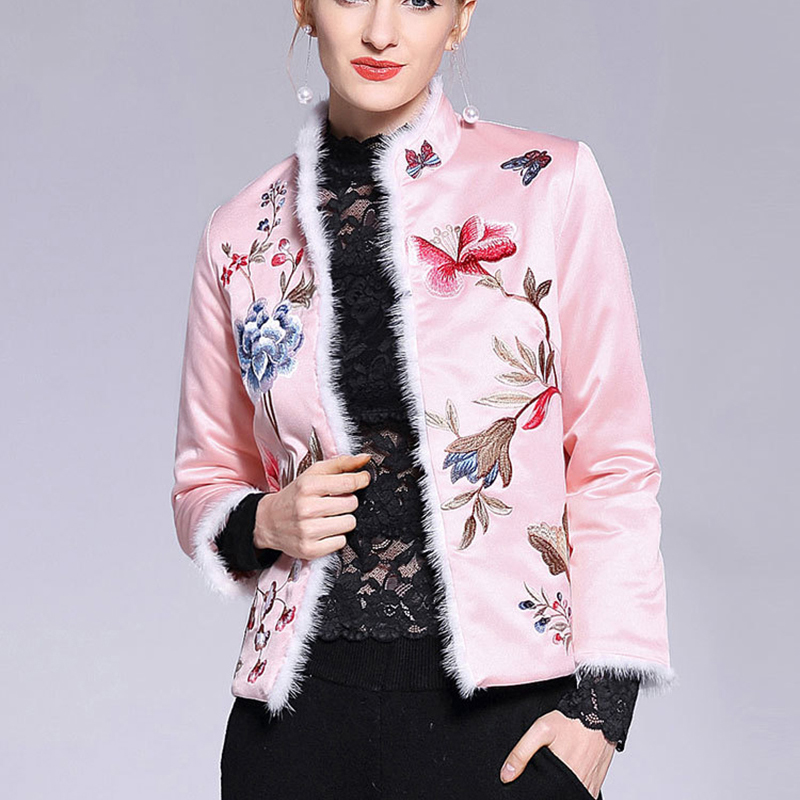 Autumn Winter Women Short   Parkas   Long Sleeve Padded Jackets With Fur Collar Female Coats Cotton Chinese National Embroidery