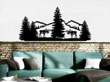 Mountains Wall Stickers Vinyl Nature Pine Trees Relax  Removable Art Deer Animals Forest Landscape Wallpaper Home Decor W454