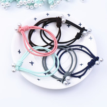 Women's Hair Accessories Pearls Twins Elastic Bands for Girls Female Headwears Black Coffee Pink Blue Stretch Gum KJ(China)