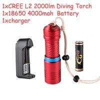 ด้านคุณภาพใต้น้ำCREE Xm-l22000lm LEDกันน้ำดำน้ำใต้น้ำไฟฉายไฟฉาย18650แสงไฟฉายแบบชาร์จไฟได