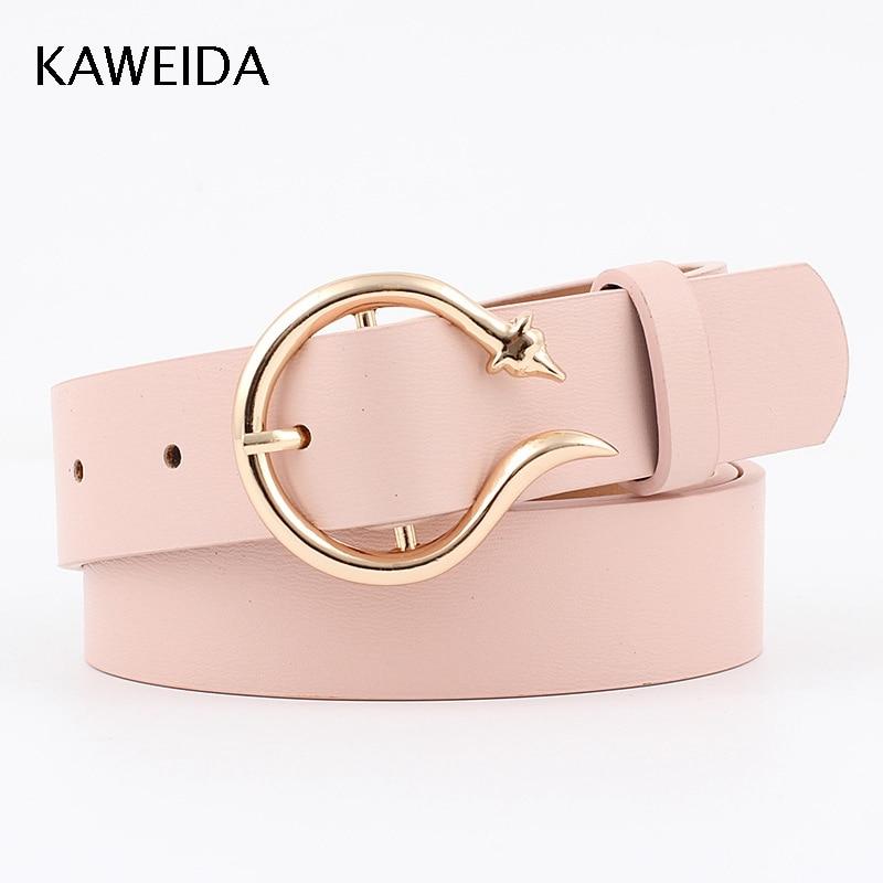 KAWEIDA High Quality Women Fashion 2019 Trending Thin PU Leather   Belt   Vintage Circle Pin Buckle Street Style Casual Cinto Kemer