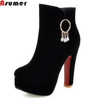 ASUMER 2017 Autumn Winter Hot Sale New Arrive Women Boots Black White Flock Ankle Boots Solid