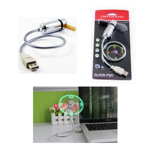 Hand Mini USB Fan portable gadgets Flexible Gooseneck LED Clock Cool For laptop PC Notebook real Time Display durable Adjustable 5