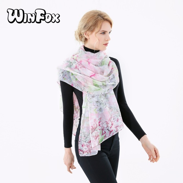 7e47adeaf Winfox 2018 New Fashionable Spring Summer Lightweight White Pink Floral  Silk Scarf Shawls For Women Ladies