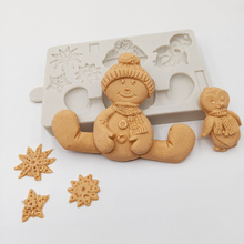 minsunbak New Christmas Series Snowman Fondant Mould  Penguin Snowflake Shaped Chocolate Silicone Mold DIY Cake Decorating Tool