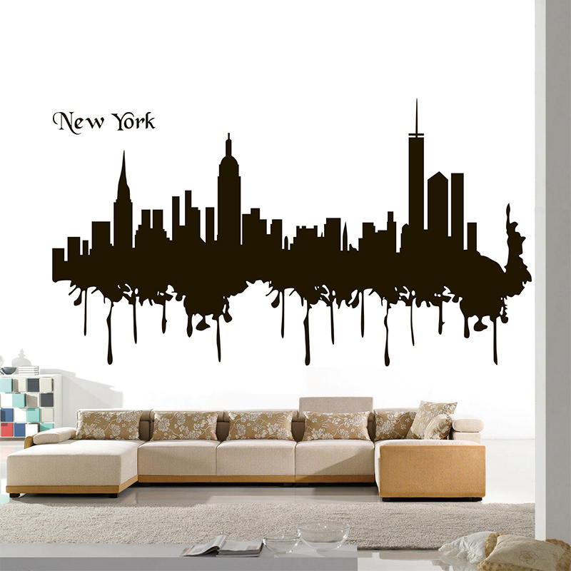 Poomoo Wall Sticker Wall Decal Bedroom Mural Words Sign New York