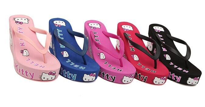 2014 new high heels women flip flops summer female sandals platform wedges slippers girl's fashion beach Shoes - Jason's Fashion store