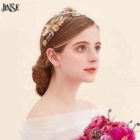 CR200 Vintage Baroque Wedding Hair Accessories Flower Crown And Tiara Bridal Tiara Headband Gold Leaf Hair