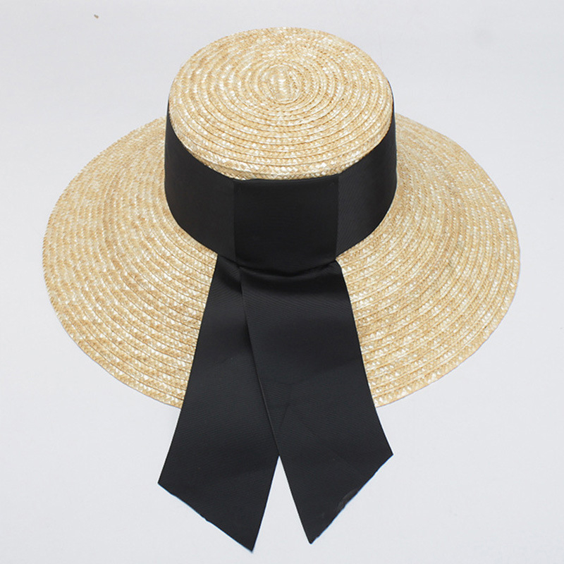 2019 Fashion Summer sun Hat Women Wide side Black Ribbon Straw Caps Sun Visor Hats Beach Sunhats With 13cm wide Brim Lady Retro in Women 39 s Sun Hats from Apparel Accessories