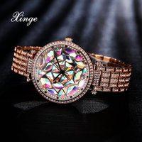 Xinge Luxury Women Bracelet Watch Gold Wristwatch Steel With 3A Zircon Crystal Quartz Clock Women Dress