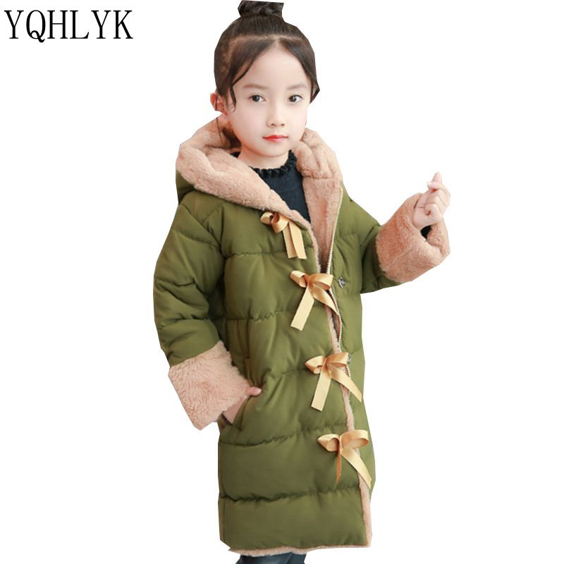 New Fashion Winter Cotton Girls Coat 2018 Korean Children Hooded Bowknot Thick Warm Jacket Sweet Casual Kids Clothes 4-13Y W190 2016 autumn and winter fashion explosion models men s warm thick cotton korean slim casual jacket