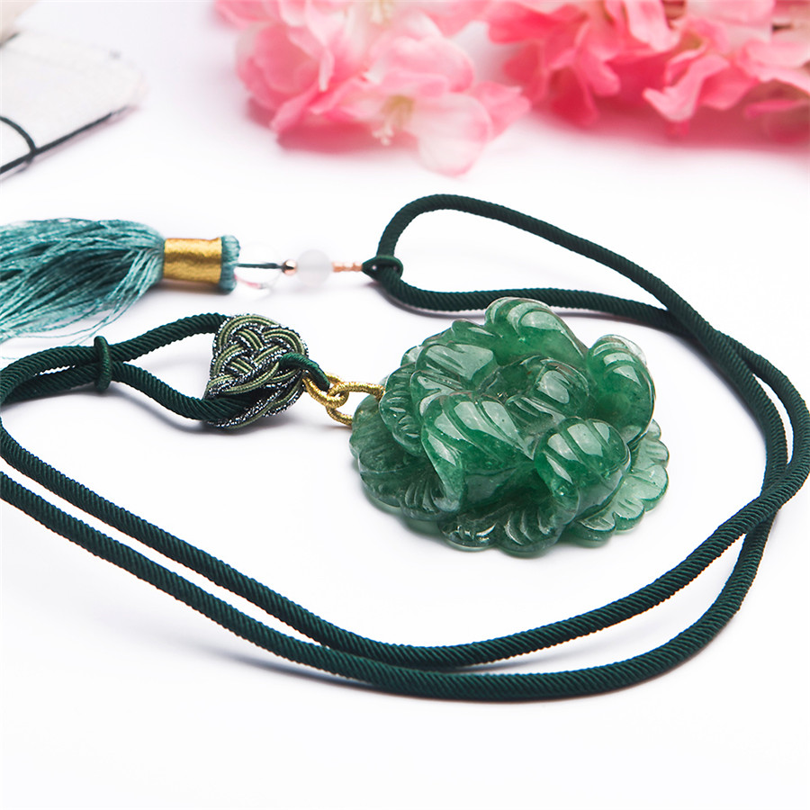 Подлинная натуральный зеленый клубника кварц Скульптура цветок Форма Для женщин Шарм Цепочки и ожерелья подвеска Диаметр 46 мм