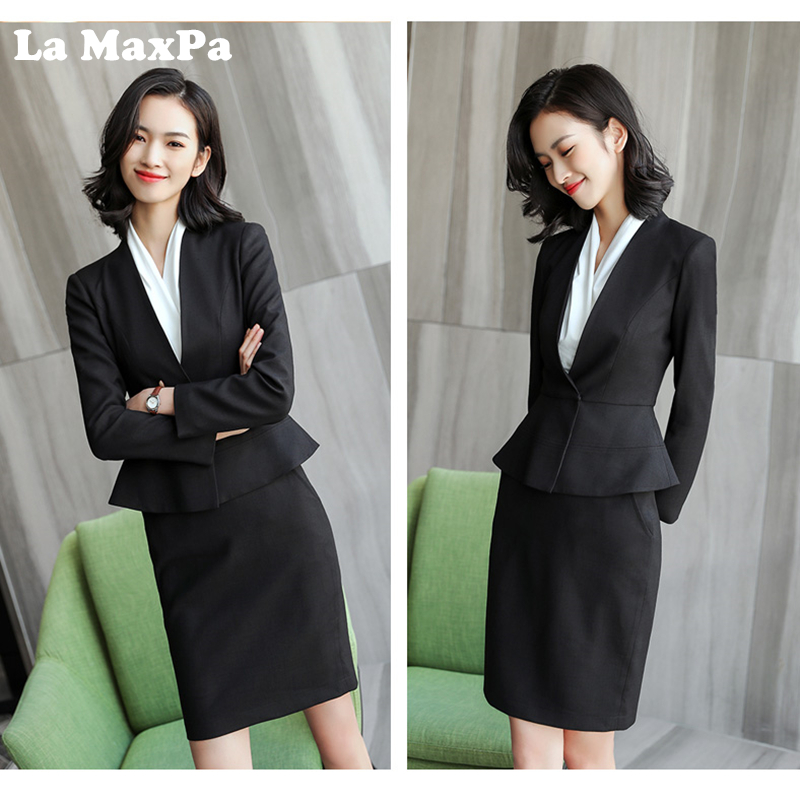 3833b3062fc 2018 New Autumn Spring Women Two Piece Set Suits Elegant Office Wear V-Neck  Ruffle Hem Business Casual Blazer Smart Casual Femme