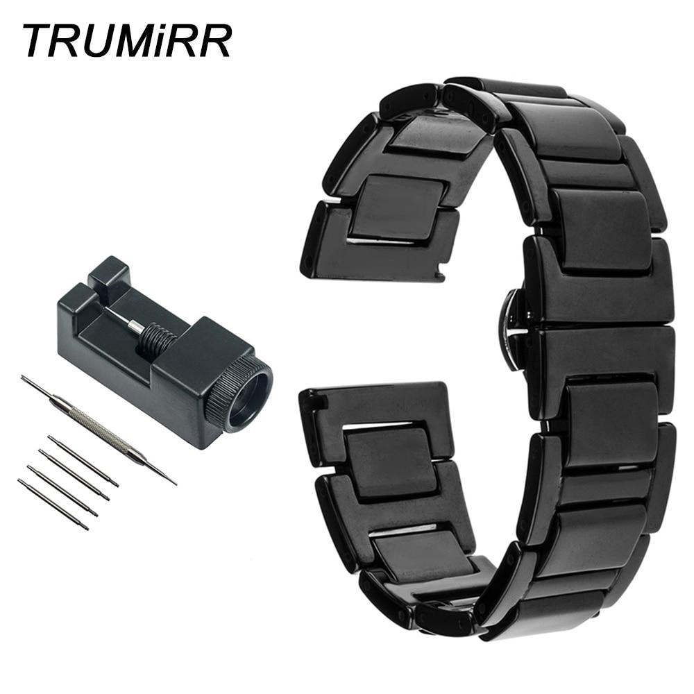 Full Ceramic Watch Band + Link Remover for Rado Men Women Wrist Strap Butterfly Buckle Belt Bracelet Black White 16mm 18mm 20mm