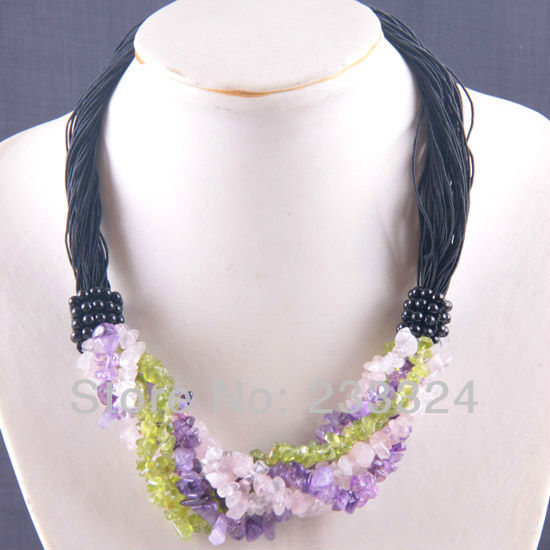 Free Shipping 6X8MM Purple Crystal Pink Green Crystal Chip Beads Nylon Line Weave Necklace 20 1Pcs E700