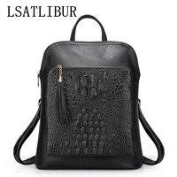 WOMEN BACKPACKS FASHION Summer Alligator Backpack Genuine Leather women bag Multifunction tassel style ladies backpack h90