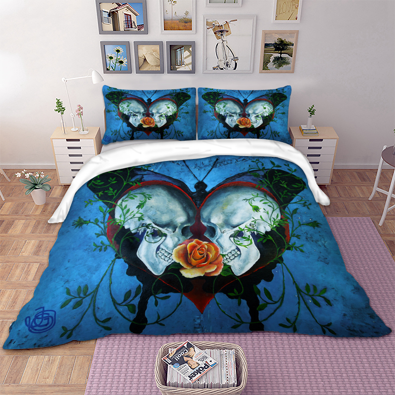 3D Skull Bedding Set Duvet Cover Pillowcases USA Twin Full Queen King AU Single Super King Cool Bed Cover Quilt Cover Set 3PCS