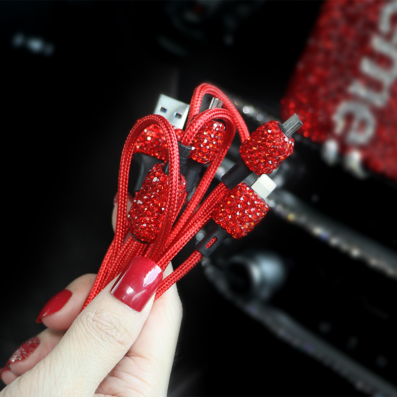 Crystal Diamond USB Data Line For Mobile Phone Charger Car Charger Dual USB Car Phone Charger Data Line Wire in Car Ornaments in Ornaments from Automobiles Motorcycles
