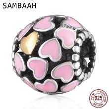 Sambaah Abundance of Heart with Pink Enamel Charm 925 Sterling Silver Love Beads fit Pandora Valentine's Day Bracelet SS2874 недорого