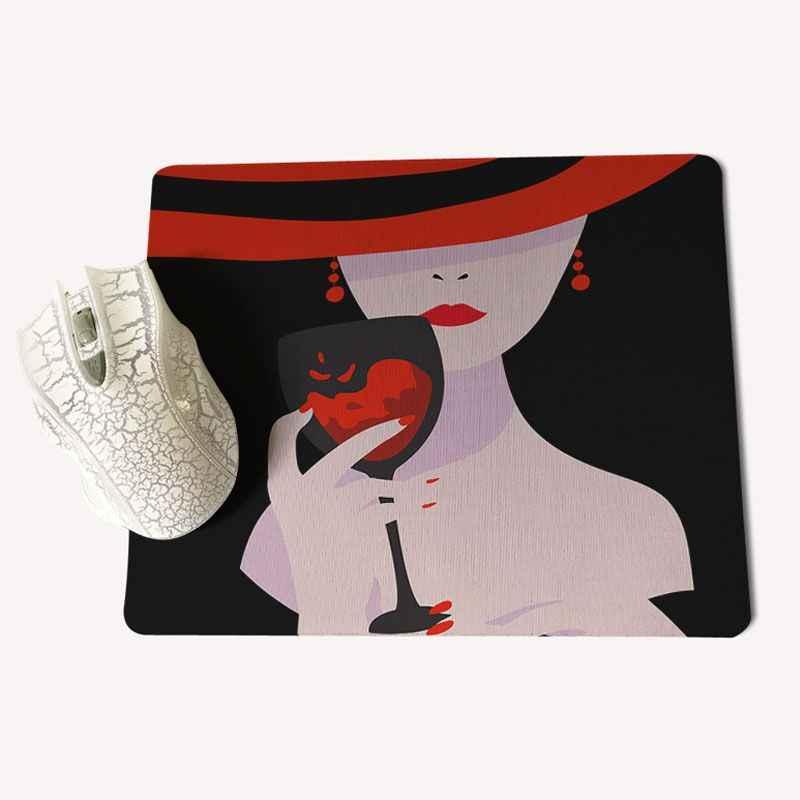 Babaite赤ワインシャンパンエレガントレディコンピュータゲームマウスパッドmousematsサイズ用25 × 29センチゲー