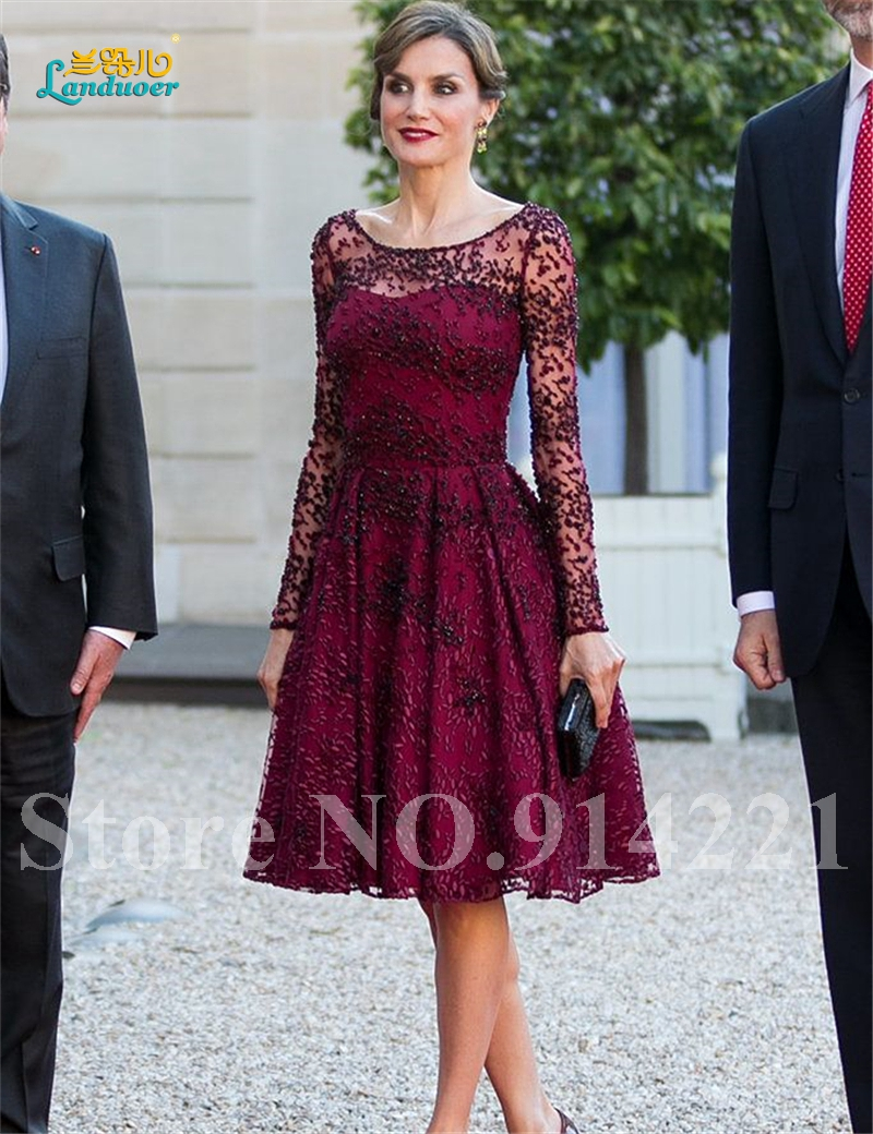Free Shipping Hot Sale Burgundy Cocktail Dress Handmade Beads Long