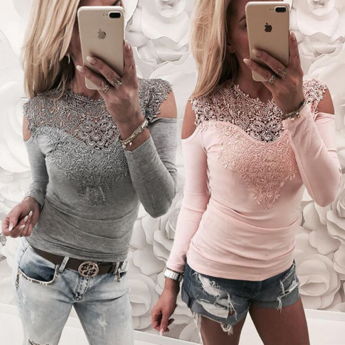 001bfc10af363 Hirigin Women Long Sleeve Tops Lace Up Ladies Loose Casual V Neck Pink Gray Colors  Cotton